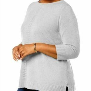 Gray 3/4 Sleeve Crewneck Sweater Plus Size 1X